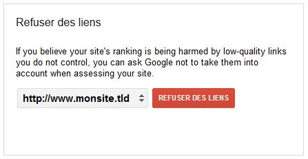 Google : formulaire pour refuser des liens